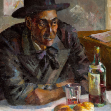 Loïs Mailou Jones (American, 1905–1998). Dans un Café à Paris (Leigh Whipper), 1939. Oil on canvas, 36 × 29 in. (91.4 × 73.7 cm). Brooklyn Museum; Brooklyn Museum Fund for African American Art and gift of Auldlyn Higgins Williams and E.T. Williams, Jr., 2012.1. © Estate of Loïs Mailou Jones, Loïs Mailou Jones Pierre-Noel Trust. (Photo: Sarah DeSantis, Brooklyn Museum)