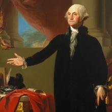 <p>Gilbert Stuart (American, 1755–1828). <em>George Washington</em>, 1796. Oil on canvas, 96<sup>1</sup>/<sub>4</sub> × 60<sup>1</sup>/<sub>4</sub> in. (244.5 × 153 cm). Brooklyn Museum; Dick S. Ramsay Fund and Museum Purchase Fund, 45.179</p>