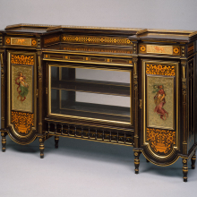 <p>Herter Brothers (American, 1865–1905). <em>Cabinet</em>, late 1870s. Ebonized cherry, other woods, glass, brass, pigment, 42<sup>3</sup>/<sub>8</sub> × 66 × 16<sup>3</sup>/<sub>4</sub> in. (107.6 × 167.6 × 42.5 cm). Brooklyn Museum; H. Randolph Lever Fund, 76.63a–f</p>