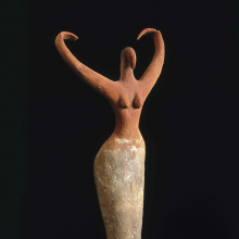 <p><em>Female Figurine</em>. Egypt, from Ma'mariya. Predynastic Period, Naqada II, circa 3500–3400 <small>B.C.E.</small> Terracotta, painted, 11<sup>1</sup>⁄<sub>2</sub> x 5<sup>1</sup>⁄<sub>2</sub> x 2<sup>1</sup>⁄<sub>4</sub> in. (29.2 × 14 × 5.7 cm). Brooklyn Museum, Charles Edwin Wilbour Fund, 07.447.505</p>