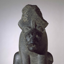 <p><em>Bust of the Goddess Sakhmet</em>. Egypt, from Thebes. New Kingdom, Dynasty 18, reign of Amunhotep III, circa 1390–1352 <small>B.C.E.</small> Granodiorite, 39 × 19<sup>7</sup>⁄<sub>8</sub> x 15<sup>9</sup>⁄<sub>16</sub> in. (99 × 50.5 × 39.5 cm). Brooklyn Museum, Gift of Dr. and Mrs. W. Benson Harer, Jr. in honor of Richard Fazzini and the excavations of the Temple of Mut in South Karnak; the Mary Smith Dorward Fund; and the Charles Edwin Wilbour Fund, 1991.311</p>