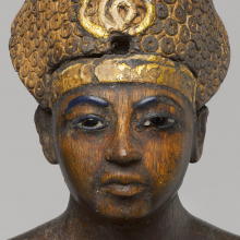 Amunhotep III (detail), circa 1390–1352 B.C.E. Possibly from Thebes. Wood, gilded, Total height: 103⁄8 in. (26.3 cm). Brooklyn Museum, Charles Edwin Wilbour Fund, 48.28. (Photo: Jonathan Dorado, Brooklyn Museum)