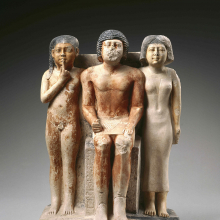 <p><em>Statue of Nykara and His Family</em>. Egypt, provenance not known. Old Kingdom, late Dynasty 5, circa 2455–2350 <small>B.C.E.</small> Limestone, painted, 22<sup>5</sup>⁄<sub>8</sub> x 14<sup>1</sup>⁄<sub>2</sub> x 10<sup>7</sup>⁄<sub>8</sub> in. (57.5 × 36.8 × 27.7 cm). Brooklyn Museum, Charles Edwin Wilbour Fund, 49.215</p>