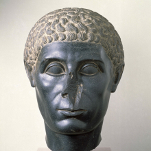<p><em>Head of an Egyptian Official</em>. Egypt, provenance unknown, reportedly from Memphis. Ptolemaic Period, circa 50 <small>B.C.E.</small> Diorite, 16<sup>5</sup>&frasl;<sub>8</sub> in. (42.2 cm). Brooklyn Museum, Charles Edwin Wilbour Fund, 58.30</p>