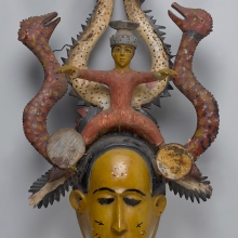 <p>Unidentified Temne artist. <em>Ode-Lay Mask</em>, mid-20th century. Freetown, Sierra Leone. Wood, paint, plastic, metal, 28<sup>1</sup>⁄<sub>2</sub> x 15<sup>3</sup>⁄<sub>4</sub> x 7<sup>7</sup>⁄<sub>8</sub> in. (72.3 x 40 x 20 cm). Brooklyn Museum, Gift of Dr. and Mrs. Milton Gross, by exchange, 2013.25. Creative Commons-BY. Photo: Sarah DeSantis, Brooklyn Museum</p>