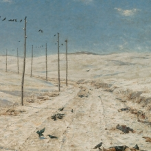 <p>Vasili Vereshchagin (Russian, 1842&ndash;1904). <em>The Road of the War Prisoners</em>, 1878&ndash;79. Oil on canvas, 71<sup>1</sup>&frasl;<sub>2</sub> x 110<sup>1</sup>&frasl;<sub>2</sub> in. (181.6 &times; 280.7 cm). Brooklyn Museum, Gift of Mrs. Lilla Brown in memory of her husband John W. Brown, 06.46</p>