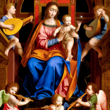 Workshop of Bernardino Luini (Italian, Milanese School, circa 1480-1532). Madonna and Child Enthroned with Angels, mid-16th century. Oil on poplar panel, 963/4 x 541/16 in. (245.7 x 137.3 cm). Brooklyn Museum, Purchased with funds given by Martin Joost, Frank S. Jones, L. W. Lawrence, Dick S. Ramsay, John T. Underwood, Henry H. Benedict, Herman Stutzer, F. Healy, Horace J. Morse, Luke V. Lockwood, Henry L. Batterman, Edward C. Blum, Frank L. Babbott, William H. Crittenden, W.C. Courtney, Frederic B. Pratt, H. I. Pratt, Alfred T. White, E. LeGrand Beers, C. D. Pratt, C. J. Peabody, Wallace A. Putnam, and A. Augustus Healy, 16.441. (Photo: Brooklyn Museum)
