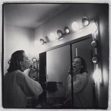 <p>Marilyn Minter (American, born 1948). <em>Coral Ridge Towers (Mom Making Up)</em>, 1969. Gelatin silver print, sheet 16 x 20 in. (40.6 x 50.8 cm). Collection of Beth Rudin DeWoody</p>