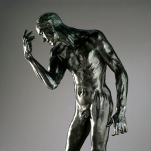 Auguste Rodin (French, 1840–1917). Pierre de Wiessant, Monumental Nude, 1886, cast 1983. Cast by Fonderie de Coubertin, Saint-Rémy-lès-Chevreuse. Bronze, 781/4 x 443/4 x 361/2 in. (198.8 x 113.7 x 92.7 cm). Brooklyn Museum; Gift of the B. Gerald Cantor Collection, 86.310. (Photo: Justin Van Soest)