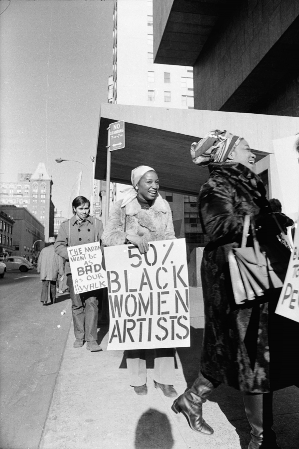 Jan van raay american born 1942 faith ringgold right and michele wallace middle at art workers coalition protest whitney museum 1971