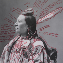 Wendy Red Star (Apsáalooke (Crow), born 1981). Alaxchiiaahush / Many War Achievements / Plenty Coups, 2014, from the series 1880 Crow Peace Delegation. Pigment print on paper, from digitally reproduced and artist-manipulated photograph by C.M. (Charles Milton) Bell, National Anthropological Archives, Smithsonian Institution, 25 × 17 in. (63.5 × 43.2 cm). Brooklyn Museum; Elizabeth A. Sackler Center for Feminist Art, Gift of Loren G. Lipson, M.D., TL2018.8.5a–b. © Wendy Red Star. (Photo: Jonathan Dorado, Brooklyn Museum)