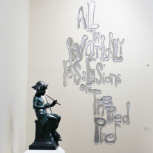 <p>Rob Wynne (American, born 1950). <em>Rob Wynne: FLOAT</em>, installation view of <em>ALL THE WORLDLY POSSESIONS OF THE PIED PIPER</em>, 2018. Poured and mirrored glass, 102 x 50 in. (259.1 x 127 cm). Courtesy of the artist and Gavlak, Los Angeles/Palm Beach. (Photo: Rob Wynne Studio)</p>