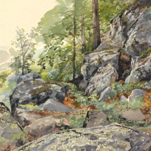 William Trost Richards (American, 1833–1905). Woodland Boulders, circa 1877–78. Transparent and opaque watercolors over graphite on gray/green, moderately thick, smooth textured wove paper, Sheet: 101/16 x 147/16 in. (25.6 x 36.7 cm). Brooklyn Museum, Bequest of Mrs. William T. Brewster through the National Academy of Design, 53.228