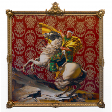 Kehinde Wiley (American, born 1977). Napoleon Leading the Army over the Alps, 2005. Oil on canvas, 108 x 108 in. (274.3 x 274.3 cm). Brooklyn Museum; Partial gift of Suzi and Andrew Booke Cohen in memory of Ilene R. Booke and in honor of Arnold L. Lehman, Mary Smith Dorward Fund, and William K. Jacobs, Jr. Fund, 2015.53. © Kehinde Wiley. (Photo: Brooklyn Museum)