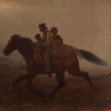 <p>Eastman Johnson (American, 1824–1906). <em>A Ride for Liberty—The Fugitive Slaves (recto)</em>, circa 1862. Oil on paperboard, 21 <sup>15</sup>/<sub>16 </sub>× 26 <sup>1</sup>/<sub>8 </sub>in. (55.8 × 66.4 cm). Gift of Gwendolyn O. L. Conkling, 40.59a–b</p>