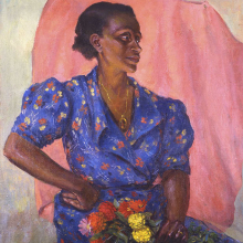 <p>Laura Wheeler Waring (American, 1887–1948).  <em>Woman with Bouquet</em>, circa 1940. Oil on canvas, 30 × 25 in. (76.2 × 63.5 cm). Brooklyn Museum Fund for African American Art in honor of Teresa A. Carbone, 2016.2</p>