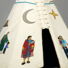 "<p>Teri Greeves (Kiowa, born 1970). <em>21st Century Traditional: Beaded Tipi</em>, 2010. Brain-tanned deer hide, charlotte-cut glass beads, seed beads, bugle beads, glass beads, sterling silver beads, pearls, shell, raw diamonds, hand-stamped sterling silver disks, hand-stamped copper disk, cotton cloth, nylon ""sinew"" rope, wood (pine, poplar, bubinga), 46 × 29 × 32<sup>1</sup>/<sub>2</sub> in. (116.8 × 73.7 × 82.6 cm). Brooklyn Museum; Florence B. and Carl L. Selden Fund, 2008.28. Creative Commons-BY. (Photo: Brooklyn Museum)</p>"