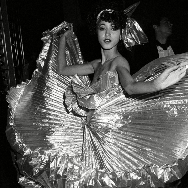 Guy Marineau: Pat Cleveland on the dance floor during Halston's disco bash at Studio 54