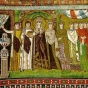 <p><em>Theodora and Her Court</em>, before A.D. 547. Basilica of San Vitale, Ravenna</p>