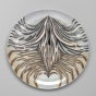 <p>Judy Chicago (American, b. 1939). <em>The Dinner Party</em> (Anne Hutchinson plate), 1974&ndash;79. Porcelain with overglaze enamel (China paint), rainbow luster overglaze, and silver metallic glaze, 14 &times; 14 &times; 1 3/16 in. (35.6 &times; 35.6 &times; 3 cm). Brooklyn Museum, Gift of the Elizabeth A. Sackler Foundation, 2002.10. &copy; Judy Chicago</p>
