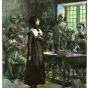 <p>Edwin Austin Abbey, coloring by Bartek Malysa. <em>Anne Hutchinson on Trial</em>, 1901. Harvard College Library, Cambridge</p>