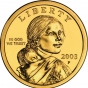 <p>Glenna Goodacre, designer. <em>Sacagawea Golden Dollar</em>, released 2001. (Image: United States Mint)</p>