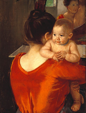 Mary Cassatt: Woman in a Red Bodice and Her Child