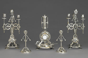 Guilmet Cie: Five-Piece Clock Garniture