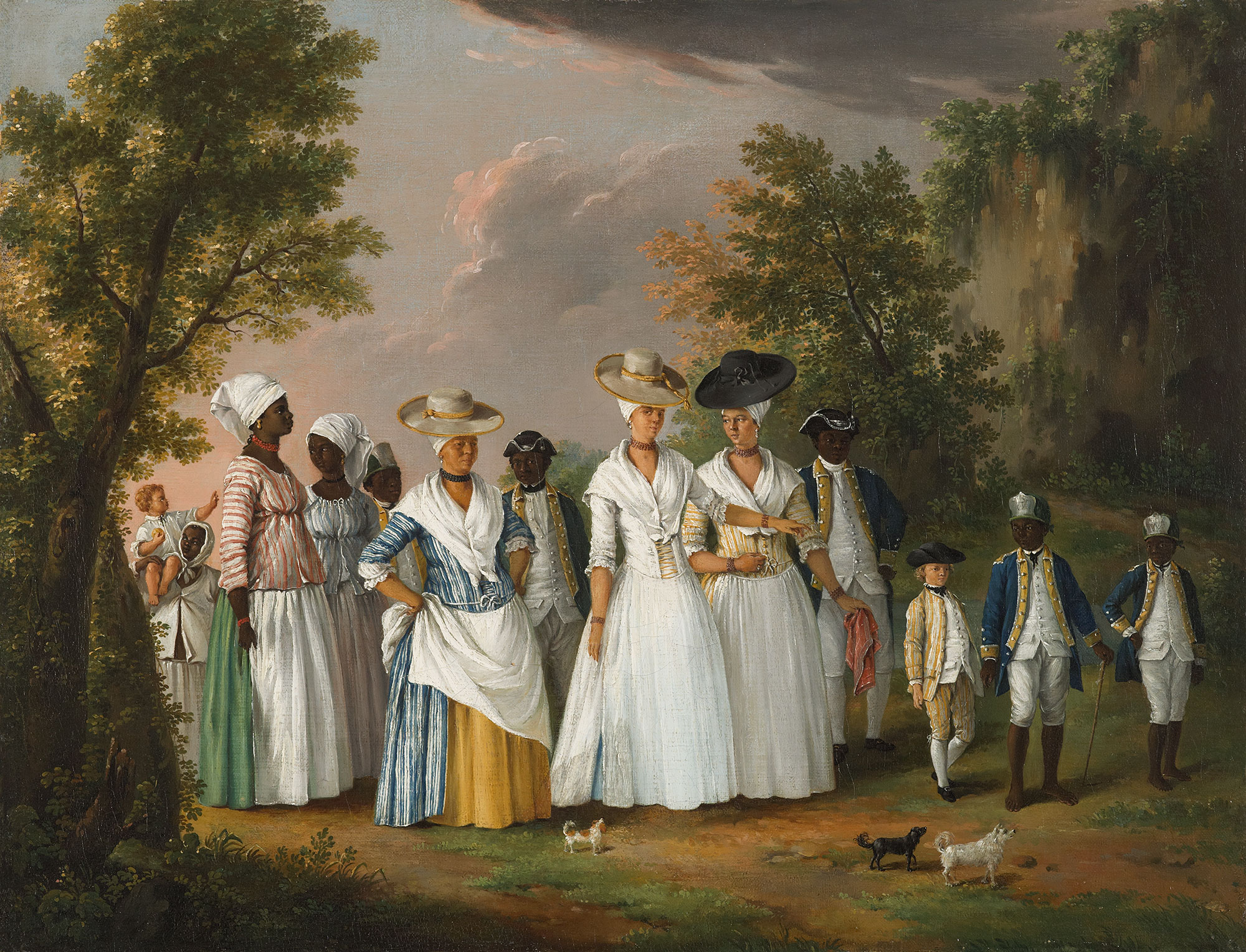<p>Agostino Brunias:  Free Women of Color with Their Children and Servants in a Landscape, ca. 1770–1796.</p>