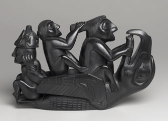 Haida: Figural Group: Raven Surmounted by Three Seated Figures