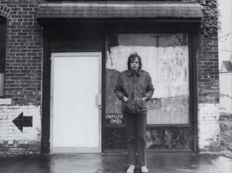 Jaime Davidovich in front of his Cleveland studio, 1971
