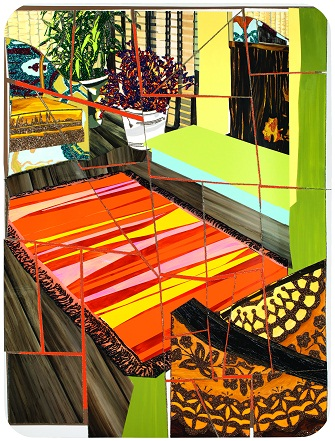 Mickalene Thomas: Interior: Two Chairs and Fireplace