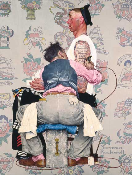norman rockwell, rockwell, painting, tattoo artist, tattoo, tattooer, tattoo profession, tattoos, tattooing, ergonomics, back pain