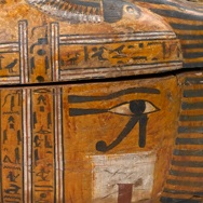 <p><i>Anthropoid Coffin of the Servant of the Great Place, Teti</i>. Egypt, from Thebes. New Kingdom, mid- to late Dynasty 18, circa 1339&minus;1307 <small>B.C.E. </small>Wood, painted, box with lid in place: 33<sup>7</sup>&frasl;<sub>16</sub> x 26 <sup>3</sup>&frasl;<sub>16</sub> x 83<sup>1</sup>&frasl;<sub>2</sub> in. Brooklyn Museum, Charles Edwin Wilbour Fund, 37.14Ea&minus;b</p>