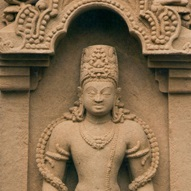 <p><i>Two-Sided Stele with Vishnu (Flanked by Personified Attributes) and Durga</i>. Northern or Eastern India, circa 7th century. Sandstone, height 43<sup>1</sup>&frasl;<sub>4</sub> in. (110 cm). Private collection</p>
