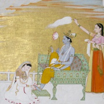 <p><i>Lakshmi Massaging the Foot of Vishnu</i>. Northern India (Punjab Hills, possibly Basohli), circa 1765–70. Opaque watercolor, gold, and silver on paper, 10<sup>3</sup>⁄<sub>4</sub> x 7<sup>3</sup>⁄<sub>8</sub> in. (27.3 × 18.7 cm). Collection of Catherine and Ralph Benkaim</p>