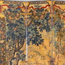 <p><i>Folding Screen with the Siege of Belgrade</i> (front) <i>and Hunting Scene</i> (reverse). Mexico, circa 1697–1701. Oil on wood, inlaid with mother-of-pearl, 90<sup>1</sup>⁄<sub>2</sub> x 108<sup>1</sup>⁄<sub>8</sub> in. (229.9 × 275.8 cm). Brooklyn Museum, Gift of Lilla Brown in memory of her husband John W. Brown, by exchange, 2012.21</p>