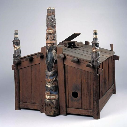 <p><i>Model of a Haida House</i>, circa 1893. George Dickson (Haida, circa mid 19th–early 20th century), Skidegate Inlet, Queen Charlotte Islands, Canada. Wood, pigment. 05.589.7791, By exchange.</p>