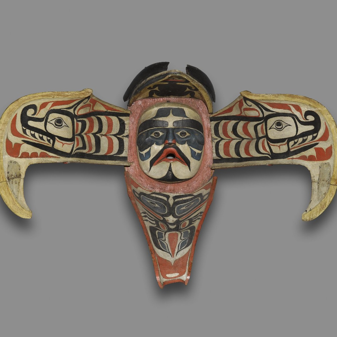 <p><i>Thunderbird Transformation Mask</i>. Alert Bay, British Columbia, Canada. N<ins>a</ins>m<ins>g</ins>is artist, Kwakw<ins>a</ins>k<ins>a</ins>'wakw, 19th century. Cedar wood, pigment, leather, nails, and metal plate. Brooklyn Museum, Museum Expedition 1908, Museum Collection Fund, 08.491.8902</p>