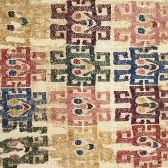 "<p><i>Mantle (""The Paracas Textile"")</i>. Paracas, Peru. Paracas artists, 300 <small>B.C.E</small></p>   –<small>C.E.</small>        100. Cotton and camelid fiber, 58<sup>1</sup>⁄<sub>4</sub> x 24<sup>1</sup>⁄<sub>2</sub> in. (148 &#215; 62.2 cm). Brooklyn Museum, John Thomas Underwood Memorial Fund, 38.121"