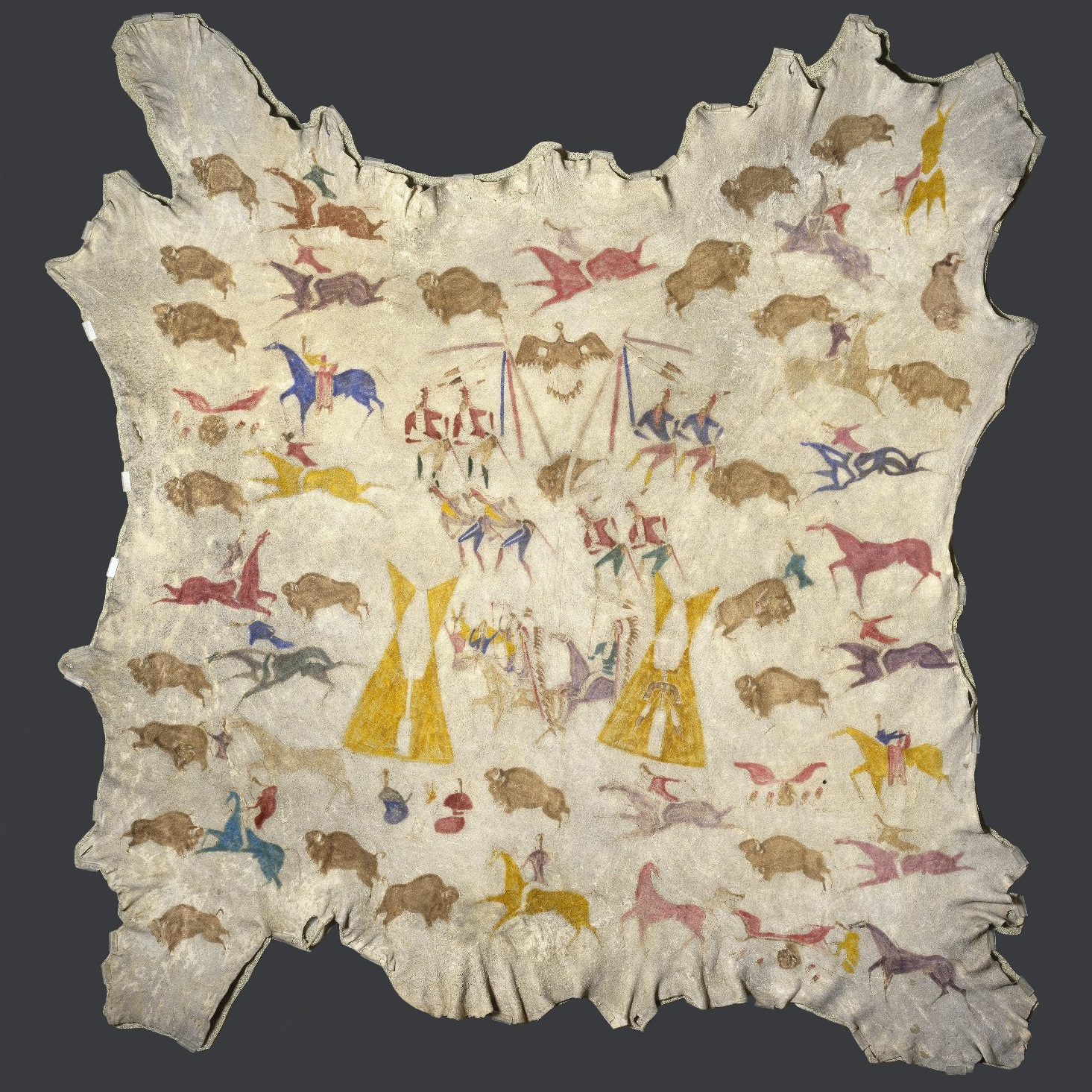 <p><i>Plains Native American Hide Painting</i>, circa 1900. Attributed to Cadzi Cody, also known as Cotsiogo (1865–1912), Shoshone artist. Montana. Elk hide, pigment. Brooklyn Museum, Dick S. Ramsay Fund, 64.13</p>