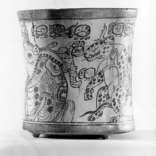 <p><i>Cylindrical Codex-Style Vase</i>. Maya artist, circa <small>C.E.</small></p>    550–850. Probably Northern Peten, Guatemala. Ceramic, black and red pigment on cream slip. Brooklyn Museum, Anonymous Loan, L80.50
