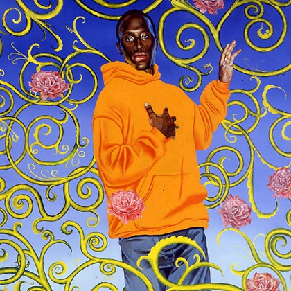 <p>Kehinde Wiley (American, b. 1977). <i>Passing/Posing, (Assumption)</i>, 2003, Oil on canvas. Brooklyn Museum, Mary Smith Dorward Fund</p>