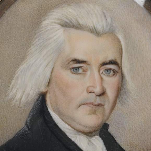<p>Unknown artist. <i>Portrait of a Gentleman/Mourning Miniature</i>, late 18th century. Watercolor on ivory with human hair housed in metal locket with glass lenses, recto (sight): 2<sup>15</sup>&frasl;<sub>16</sub> x 2<sup>3</sup>&frasl;<sub>8</sub> in. (7.5 &times; 6 cm). Brooklyn Museum, Bequest of Samuel E. Haslett, 21.478</p>