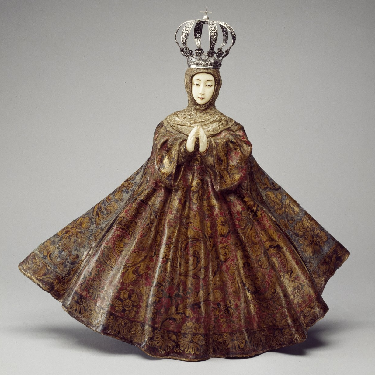 <p>Unknown artist (Guatemala, Central America). <i>Virgin of the Immaculate Conception</i>, 18th century. Wood, ivory, pigment, gilding, gessoed cloth, silver, sculpture: 25<sup>7</sup>⁄<sub>8</sub> x 27 &#215; 10<sup>1</sup>⁄<sub>4</sub> in. (65.7 &#215; 68.6 &#215; 26 cm), base: 9 1/4 &#215; 14 1/2 &#215; 23 in. (23.5 &#215; 36.8 &#215; 58.4 cm). Brooklyn Museum, Frank L. Babbott Fund, 42.384</p>