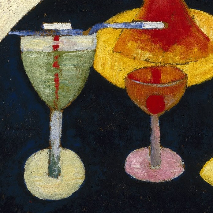 <p>Marsden Hartley (American, 1877–1943). <i>Handsome Drinks</i>, 1916. Oil on composition board, 24 &#215; 20 in. (61 &#215; 50.8 cm). Brooklyn Museum, Gift of Mr. and Mrs. Milton Lowenthal, 72.3</p>