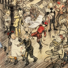 <p>William J. Glackens (American, 1870–1938). <i>Merry Christmas (Yuletide Revels)</i>, 1910. Illustration for <i>Collier's, The National Weekly</i>, December 10, 1910. Black conté crayon, ink, watercolor, graphite, and paper attachment on pulp board. Brooklyn Museum, Gift of Ira Glackens, 63.58</p>