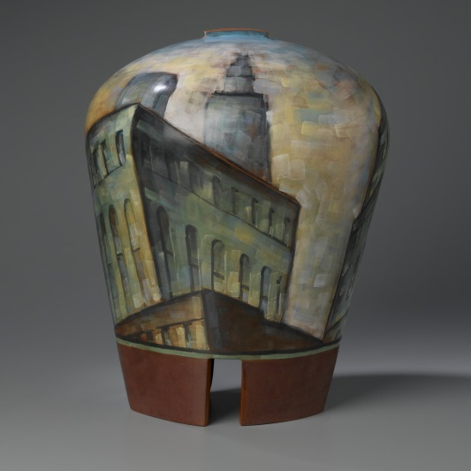 "<p>Lidya Buzio (American, born Uruguay, 1948). <i>""Roofscape"" Vase</i>, 1987. Glazed earthenware. Brooklyn Museum, Purchased with funds given by Mrs. Carl L. Selden and the Caroline A. L. Pratt Fund, 1990.44</p>"