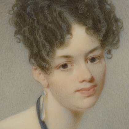 <p>Thomas Seir Cummings (American, born England, 1804&ndash;1894). <i>Portrait of Elizabeth Stirling Foote</i>, 1832. Watercolor on ivory portrait in brass locket with glass lenses on both sides, image (sight): 2<sup>11</sup>&frasl;<sub>16</sub> x 2<sup>3</sup>&frasl;<sub>16</sub> in. (6.8 &times; 5.6 cm), frame: 3 &times; 2<sup>5</sup>&frasl;<sub>8</sub> in. (7.6 &times; 6.7 cm). Brooklyn Museum, Museum Collection Fund, 16.687.1</p>