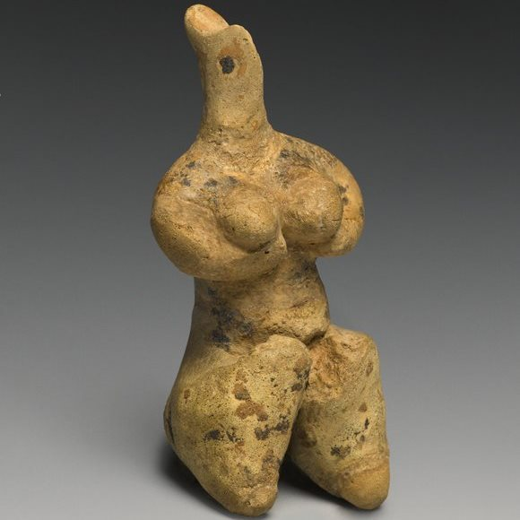 Female Figurine. Provenance not known; type known from northern Mesopotamia (modern Iraq) and Syria. Late Halaf Period, late fifth millennium B.C.E. Clay, pigment, 41⁄8 x 17⁄8 x 15⁄8 in. (10.4 × 4.7 × 4.2 cm). Brooklyn Museum, Purchased with funds given by the Hagop Kevorkian Fund and Designated Purchase Fund, 1990.14